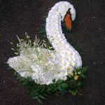 white flowers arranged in the shape of a swan